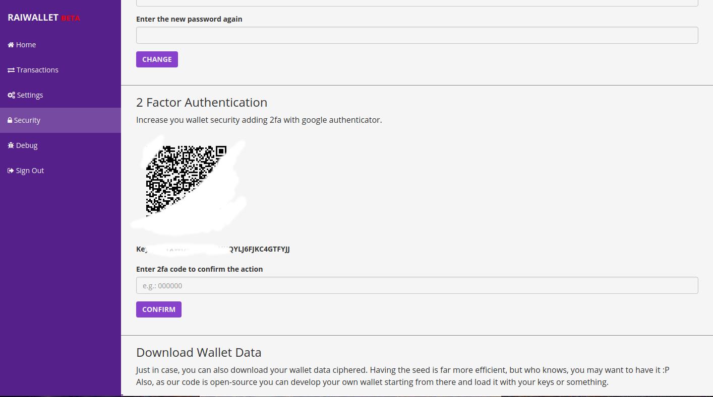 Raiwallet, a carteira digital de Raiblock. Proteção adicional com Google Authenticator.