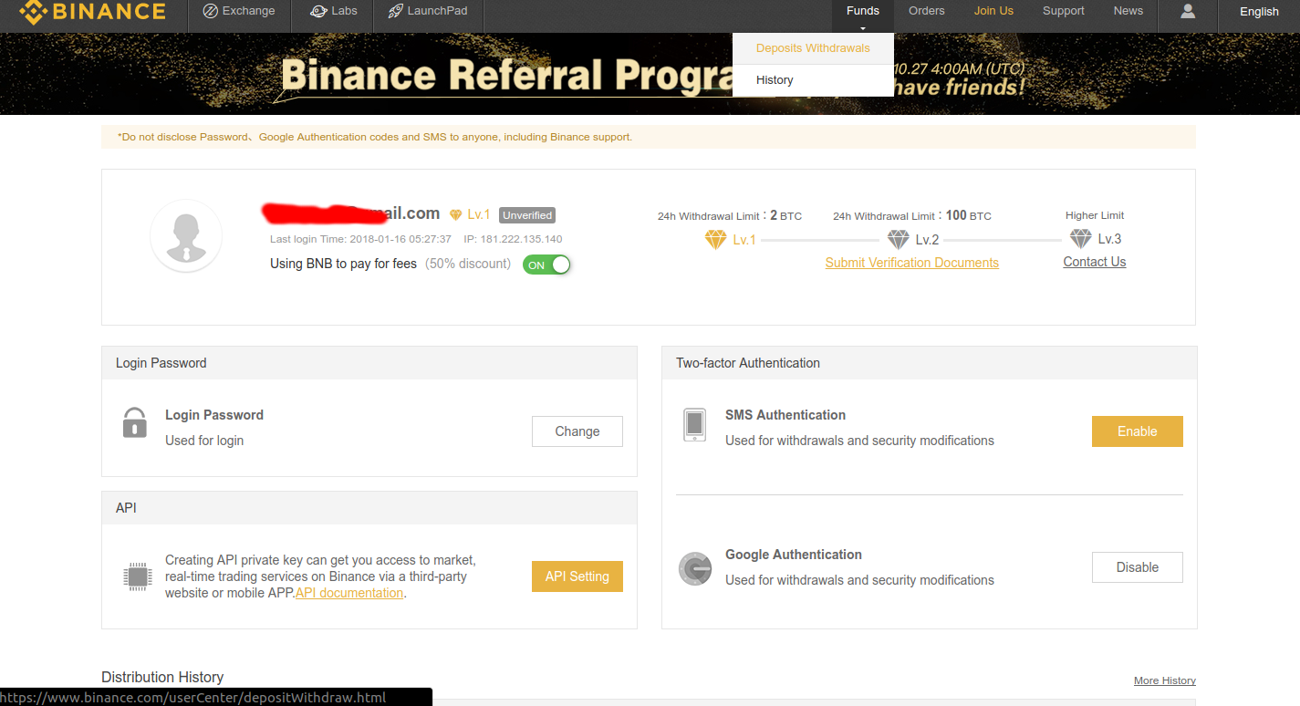 Binance - Deposit/Withdrawal