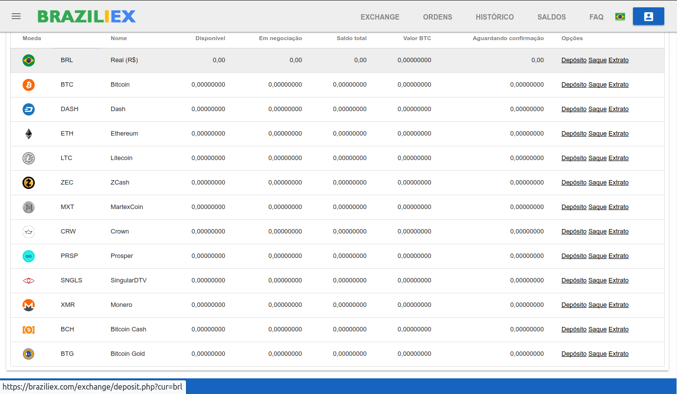 Com a validação dos documentos realizada, acesse sua conta, vá em Saldos, clique em depósitos e em seguida clique em BRL
