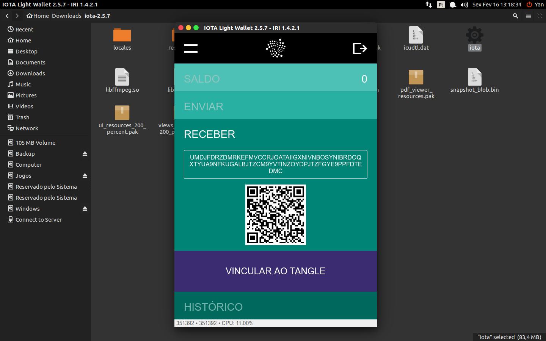 Ao clicar em Receber/Receive você irá se deparar com uma tela com um QR Code. Clique em Vincular ao Tangle e espere o processo terminar para utilizar seu endereço como quiser.