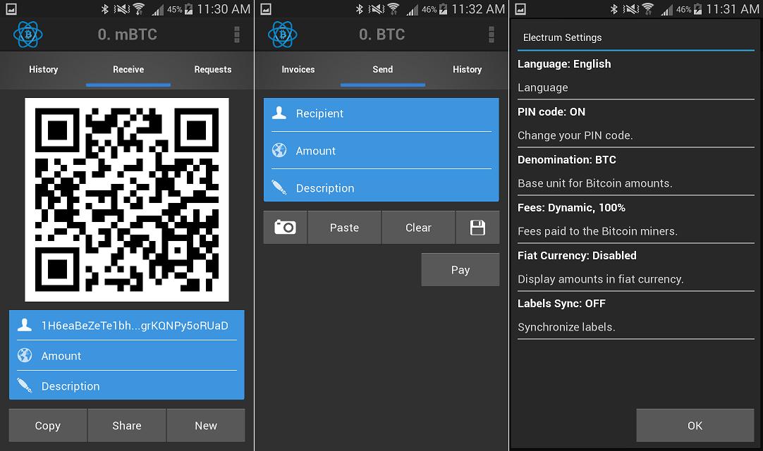 Carteira bitcoin mobile Electrum foto