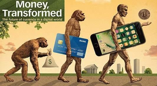 """Arte disponível no site do FMI mostra """"evolução"""" das finanças no mundo digital. Foto: Reprodução/FMI"""
