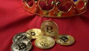 Marketshare do Bitcoin chega a 55% do mercado de criptomoedas, maior nível dos últimos 3 meses (Foto: Shutterstock)