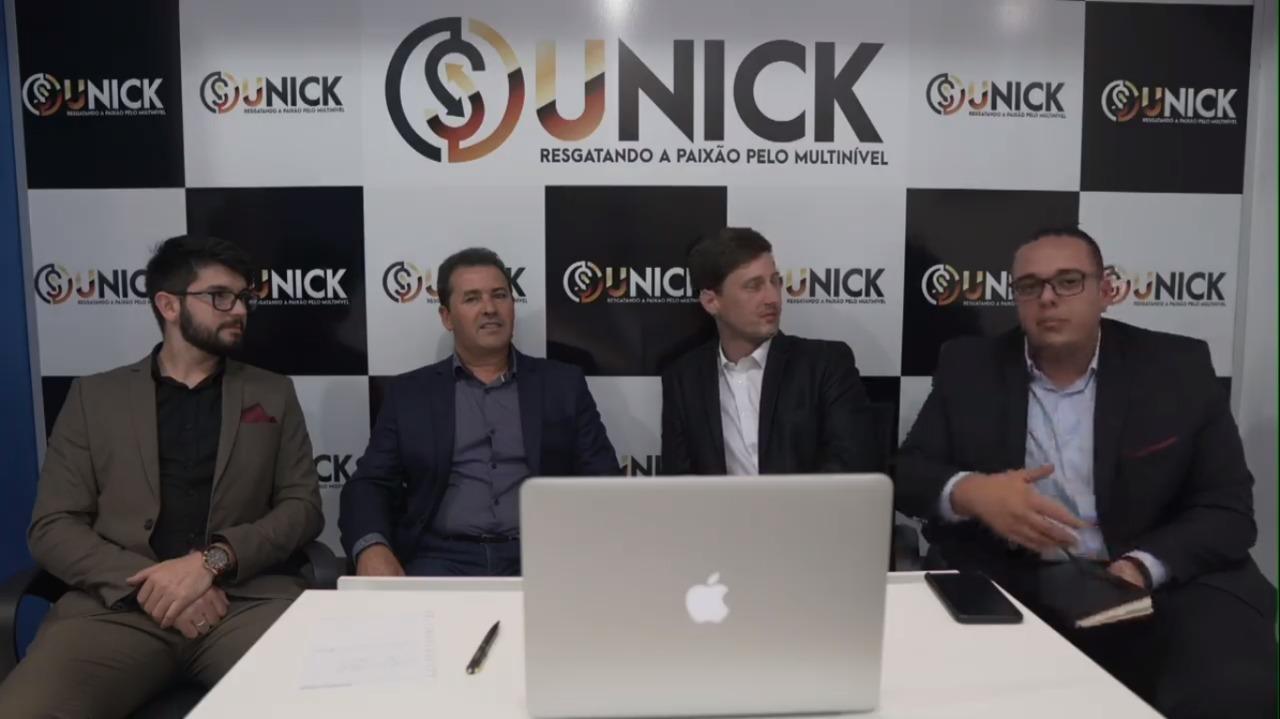 Danter Silva, diretor de marketing; Leidimar Lopes, presidente; Fernando Lusvarghi, diretor jurídico; e Felipe Martins , assistente administrativo (Da E para D). (Foto: Reprodução/Youtube)