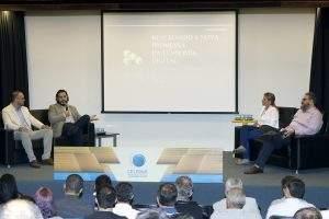(Auditório da Celepar durante o evento de lançamento da parceria com a BRI. Imagem: Reprodução/Celepar)
