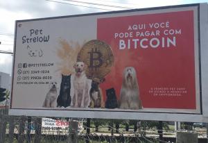 Pet Shop do Espírito Santo que aceita bitcoin faz anúncio em outdoor