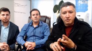 Rangel Andrades, na direita, e Leidimar Lopes, presidente da Unick, no centro (Foto: Reprodução/Youtube)