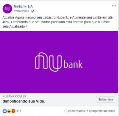 Anúncio de página fake do Nubank no Facebook que usa 'phishing' para tentar coletar dados de internautas