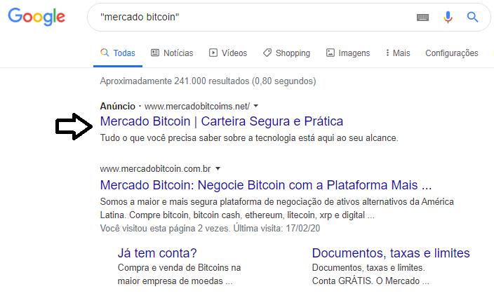 Anúncio no Google leva para página fake do Mercado Bitcoin