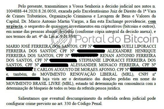Trecho do documento enviado às exchanges