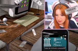 Streamer Cherryrar jogando Streamer Life Simulator no Youtube.