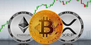 Ethereum (ETH), Bitcoin (BTC) e Ripple (XRP) - Foto: Shutterstock