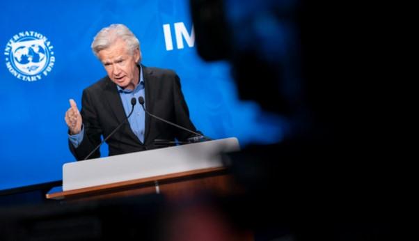 Porta-voz do FMI, Gerry Rice, durante conferência (Foto: IMF/Cory Hancock)