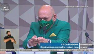 Dono da Havan, Luciano Hang, durante a CPI da Covid (Foto: Reprodução)
