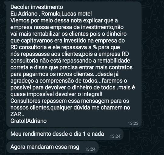 Mensagem da Decolar Investimento enviada a clientes